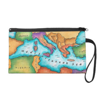 Map of Mediterranean Sea Wristlet Purse