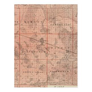 Map of Meeker County, Minnesota Postcard