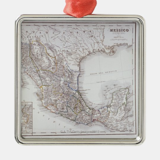 Map of Mexico 2 Metal Ornament