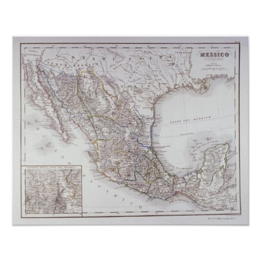 Map of Mexico 2 Poster