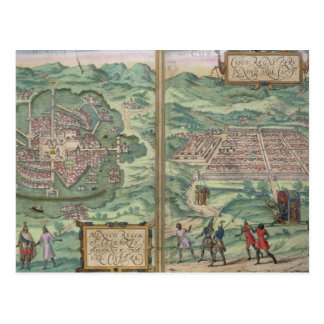 Map of Mexico and Cuzco, from 'Civitates Orbis Ter Postcard