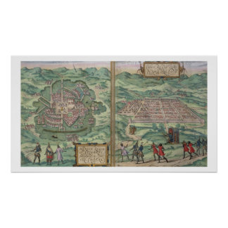 Map of Mexico and Cuzco, from 'Civitates Orbis Ter Poster