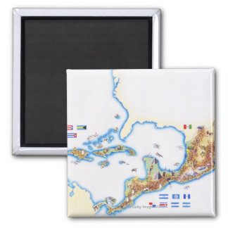 Map of Mexico, Central America and Caribbean 2 Inch Square Magnet