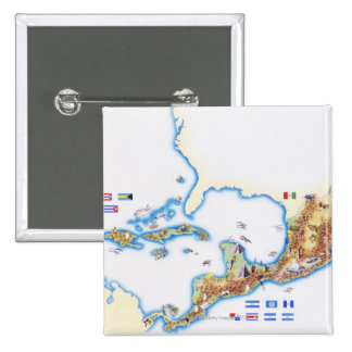 Map of Mexico, Central America and Caribbean Button