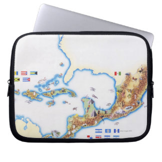 Map of Mexico, Central America and Caribbean Laptop Sleeve