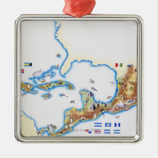 Map of Mexico, Central America and Caribbean Metal Ornament