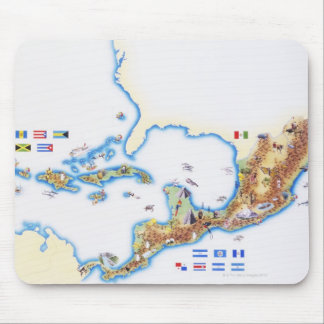 Map of Mexico, Central America and Caribbean Mouse Pad