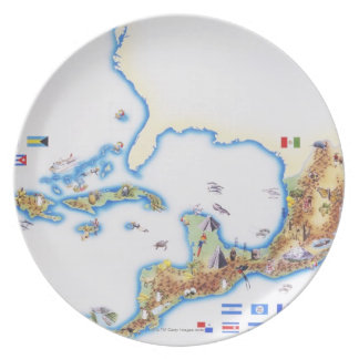 Map of Mexico, Central America and Caribbean Party Plate