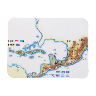 Map of Mexico, Central America and Caribbean Rectangular Photo Magnet
