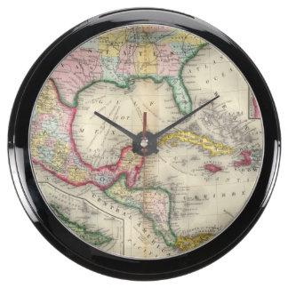 Map Of Mexico, Central America Aquarium Clocks
