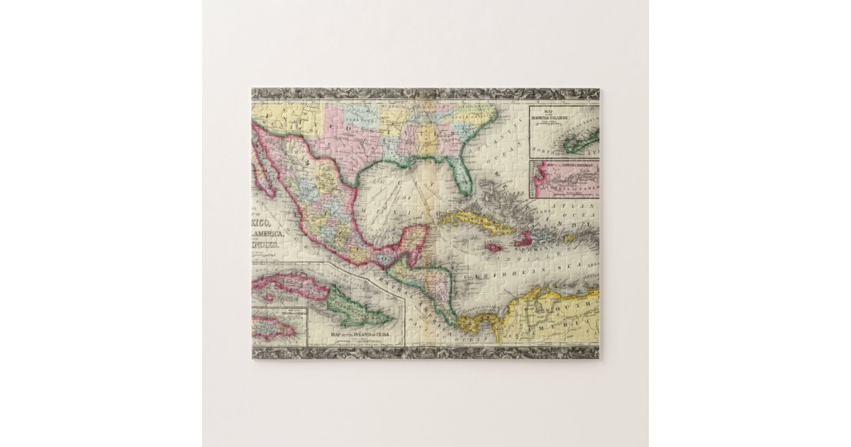 Map Of Mexico, Central America Jigsaw Puzzle | Zazzle.com
