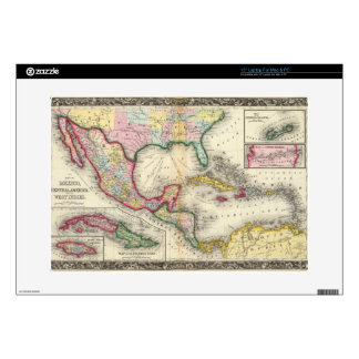 Map Of Mexico, Central America Laptop Decal