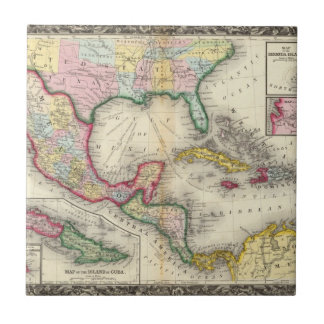 Map Of Mexico, Central America Tile