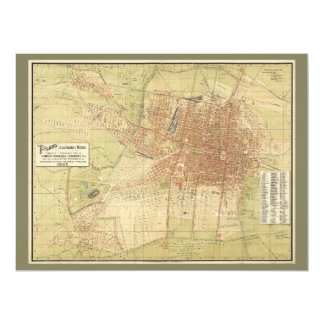 Map of Mexico City from 1907 Card