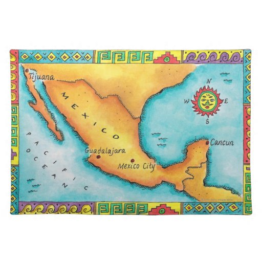 Map of Mexico Place Mats