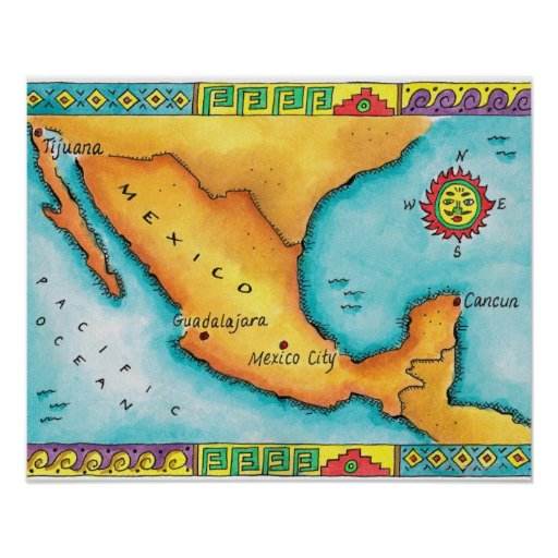 Map of Mexico Poster