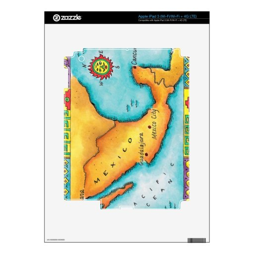Map of Mexico Skin For iPad 3