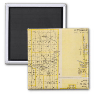 Map of Miami County 2 Inch Square Magnet