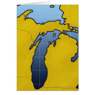 Map of Michigan 2 Greeting Card