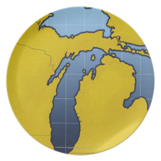 Map of Michigan 2 Dinner Plate