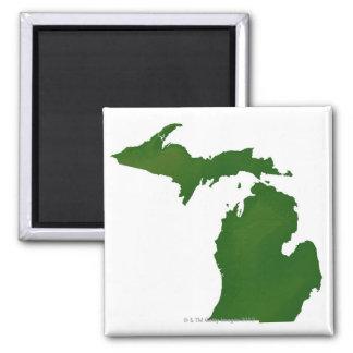 Map of Michigan 2 Inch Square Magnet