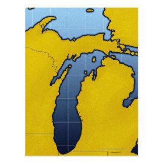 Map of Michigan 2 Postcard