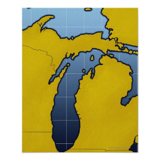 Map of Michigan 2 Poster