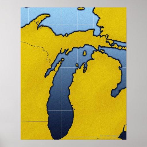 Map of Michigan 2 Print