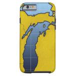 Map of Michigan 2 Tough iPhone 6 Case