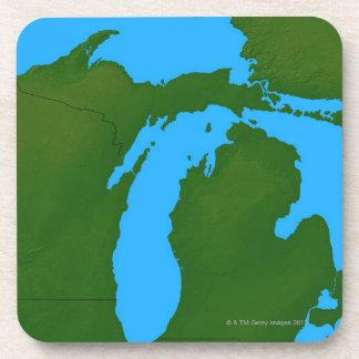 Map of Michigan 3 Beverage Coaster