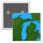 Map of Michigan 3 Pinback Buttons