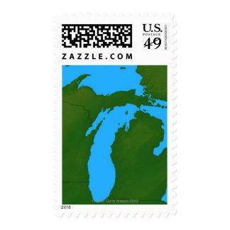 Map of Michigan 3 Postage