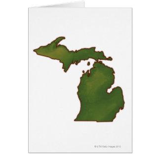 Map of Michigan 4 Greeting Card