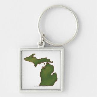 Map of Michigan 4 Keychain