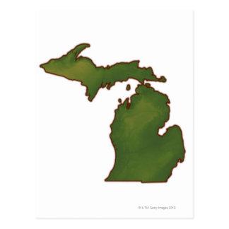 Map of Michigan 4 Postcard