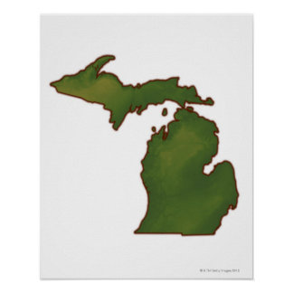 Map of Michigan 4 Poster