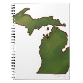 Map of Michigan 4 Spiral Notebook