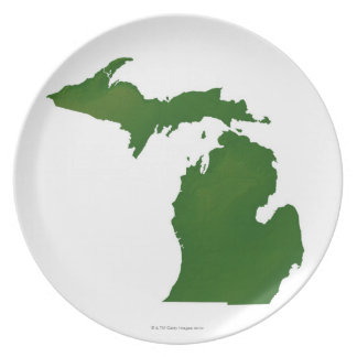 Map of Michigan Dinner Plate