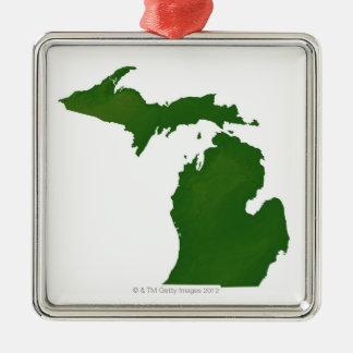 Map of Michigan Square Metal Christmas Ornament
