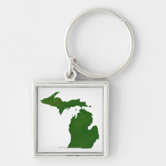 Map of Michigan Silver-Colored Square Keychain