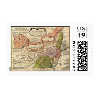 Map of Middle British Colonies in America 1771 Stamp