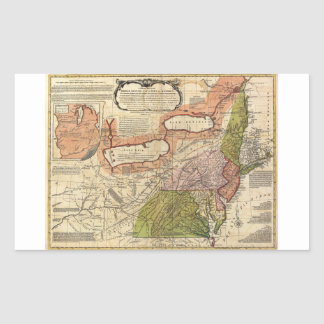 Map of Middle British Colonies in America 1771 Rectangular Sticker