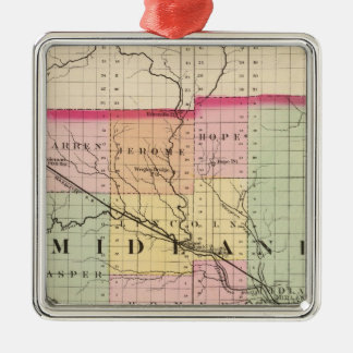 Map of Midland County, Michigan Metal Ornament