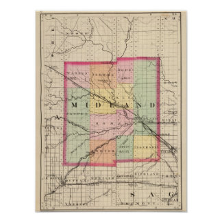 Map of Midland County, Michigan Poster