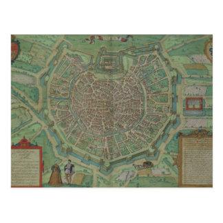 Map of Milan, from 'Civitates Orbis Terrarum' by G Postcard