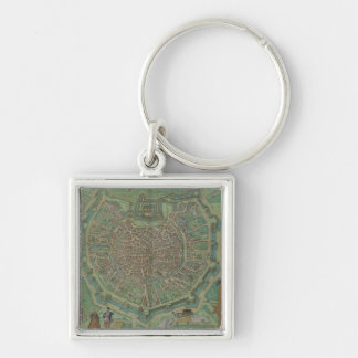 Map of Milan, from 'Civitates Orbis Terrarum' by G Silver-Colored Square Keychain