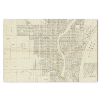 """Map of Milwaukee 10"""" X 15"""" Tissue Paper"""