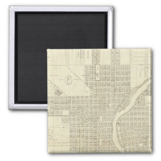 Map of Milwaukee 2 Inch Square Magnet