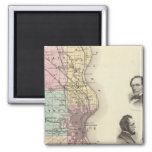 Map of Milwaukee County, State of Wisconsin 2 Inch Square Magnet