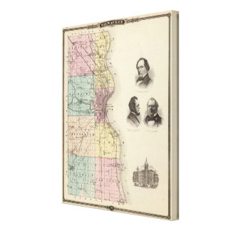 Map of Milwaukee County, State of Wisconsin Canvas Print